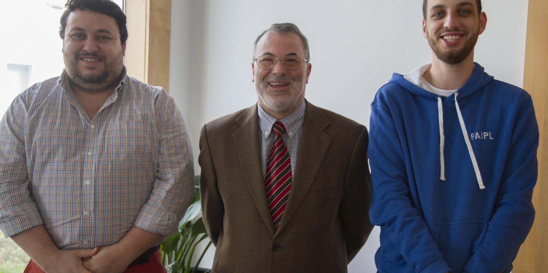 Luís Castro, presidente da FAIPL, Vicente Ferreira, presidente do IPL (ao centro), Telmo Viveiros, tesoureiro da FAIPL.