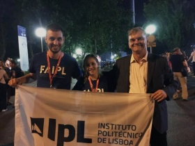 Telmo Viveiros (FAIPL), Rita Morgado (atleta ESTeSL) e António Belo (vice-presidente do IPL)